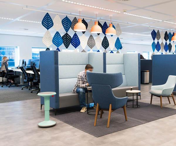 Moderne kantoorinrichting banken
