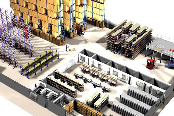 Looproutes en indeling voor een veilig magazijn